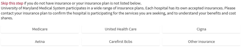 Step 1: select insurance or continue without insurance