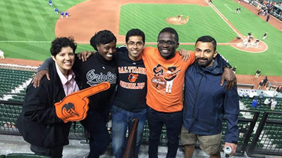 Group shot of neurology residents at an Orioles game