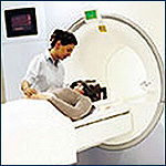 Photo of a patient undergoing a imaging test