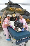 Patient wheeled to Shock Trauma from helicopter